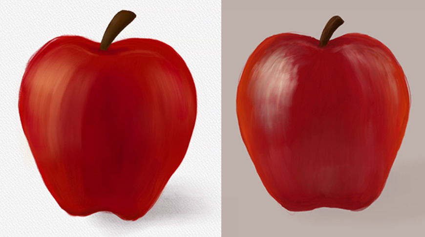 An apple painted in Rebelle (left) vs an apple painted in Adobe Fresco (right)