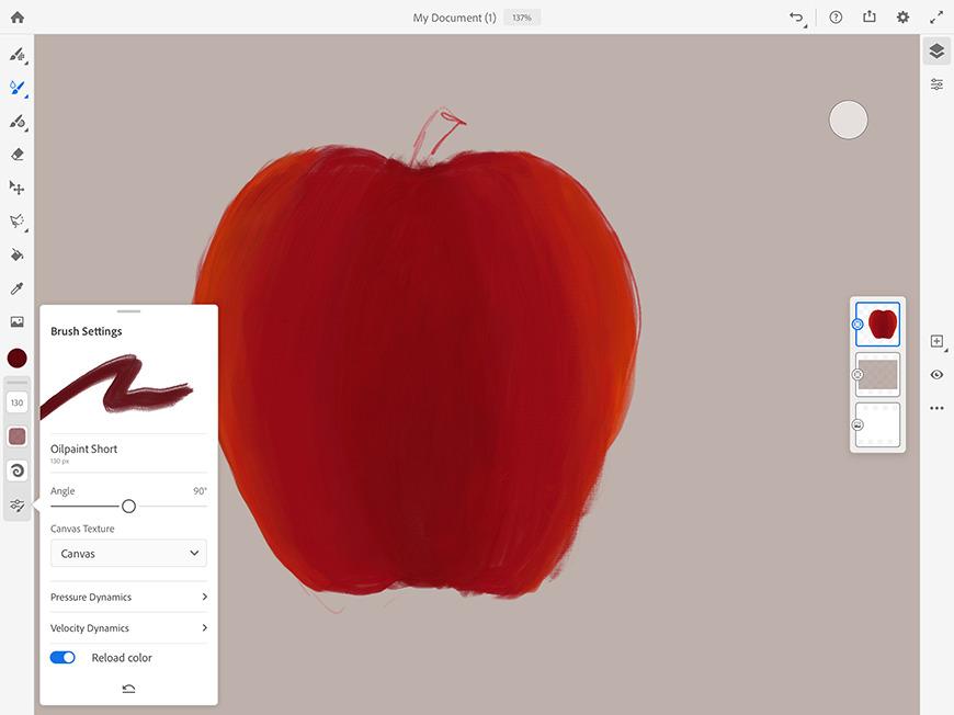 Adobe Fresco's interface