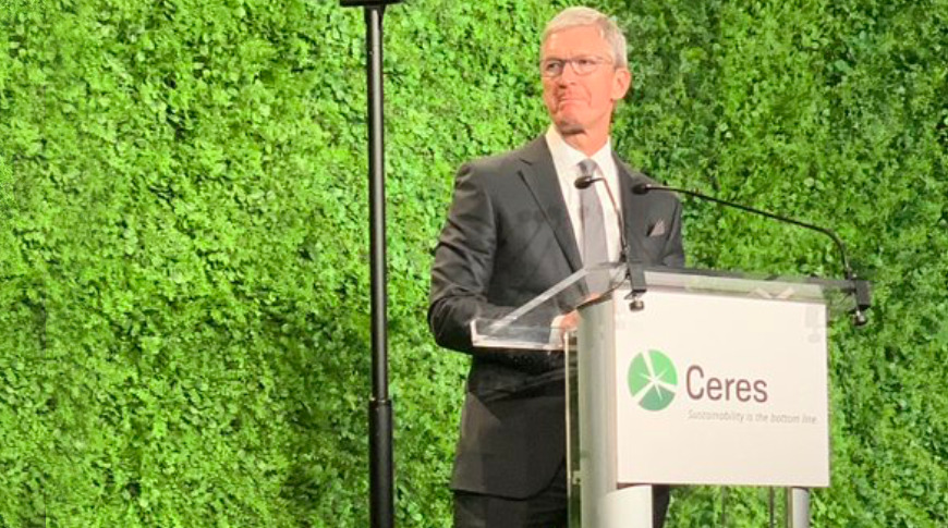 photo of Tim Cook talks sustainability in Ceres keynote speech image