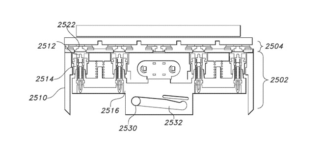 An example of a sliding sled for an Apple Watch connector using four pins with electrical contacts