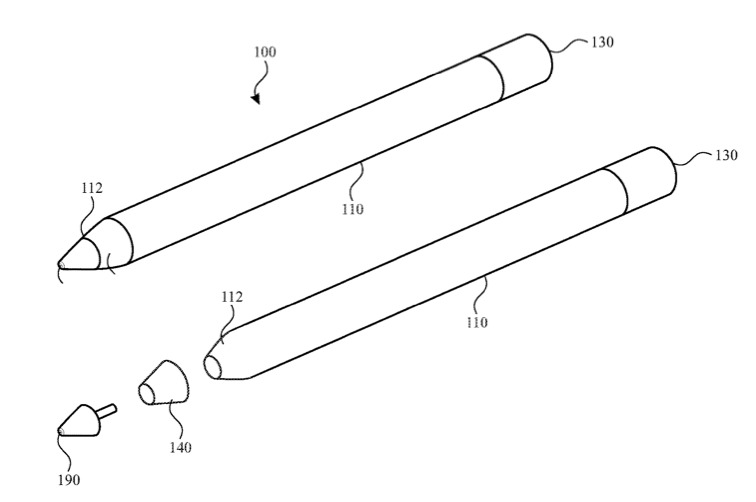 Composite of diagrams from Apple Pencil patent showing possible locations of color display at tip or near it