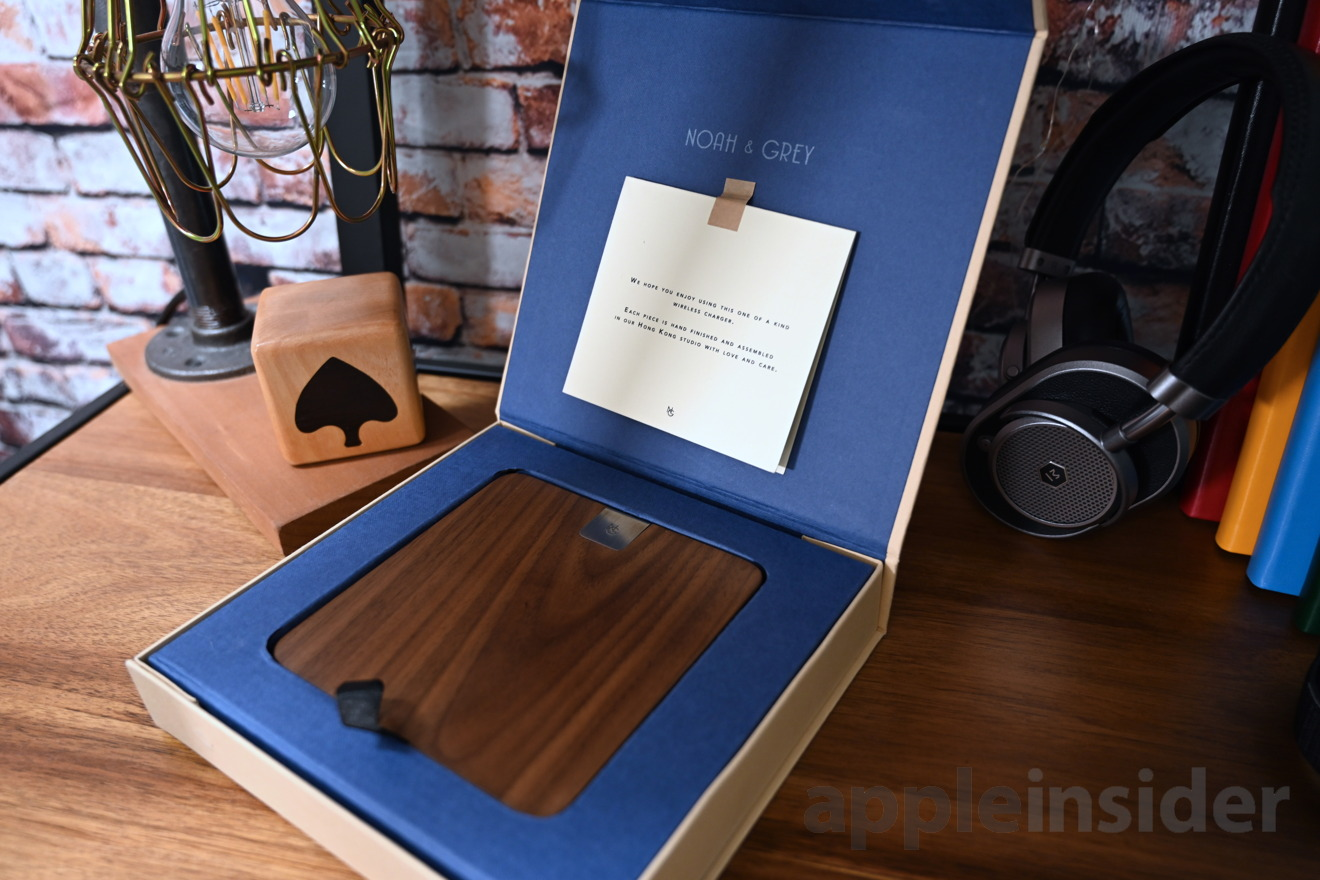 Noah and Grey wireless charger has a card explaining the hand-finished nature