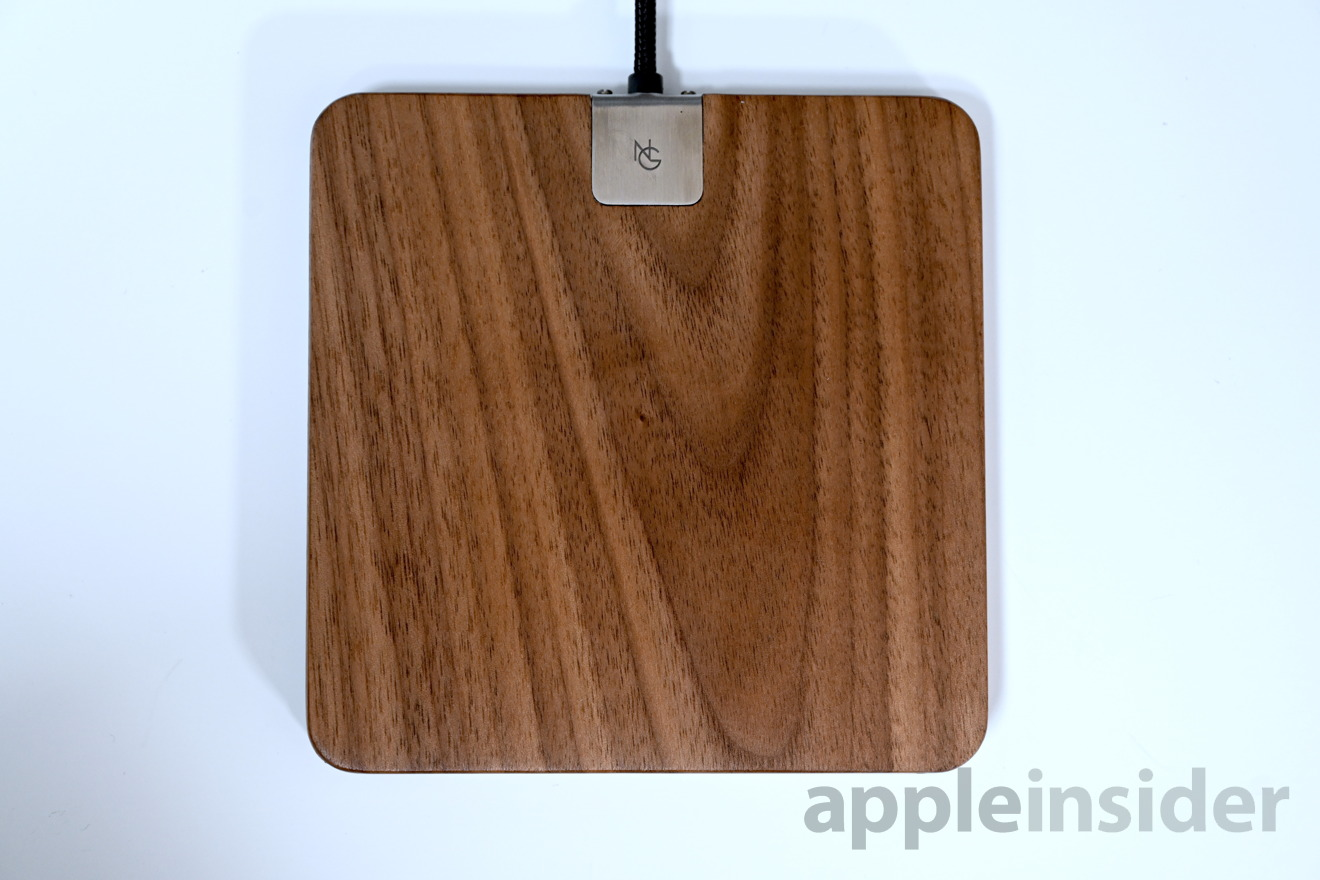 Noah and Grey wireless charger with walnut and stainless steel