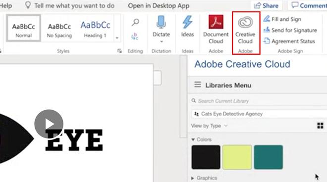 Creative Cloud Libraries in Word