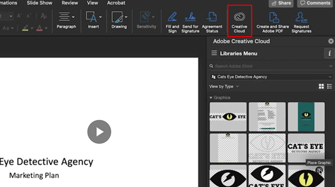 Creative Cloud Libraries in Powerpoint