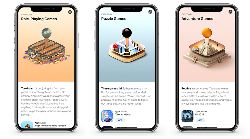 Apple Arcade's game genre pages