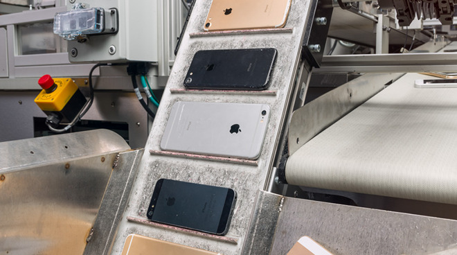 iPhones set to be disassembled (Image credit: Apple)