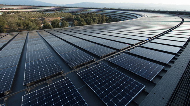 Apple Park is outfitted with solar panels (Image Credit: Apple)