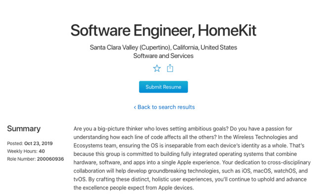 One of the current HomeKit-related jobs posted on Apple's recruitment site.