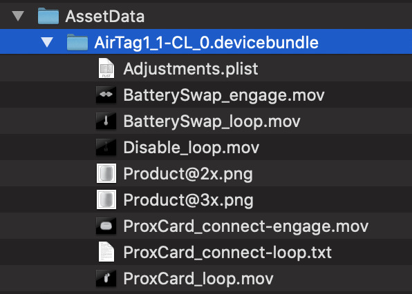 The AirTag folder contents within iOS 13.2 (Source: 9to5mac)