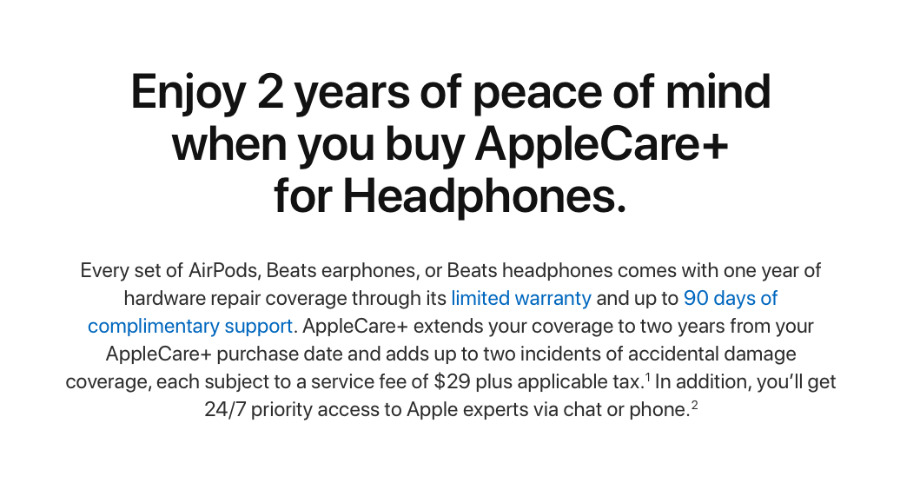 Detail from Apple's AppleCare+ for Headphones page