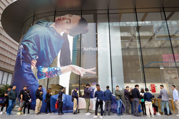 Scenes from Apple Stores as AirPods Pro go on sale