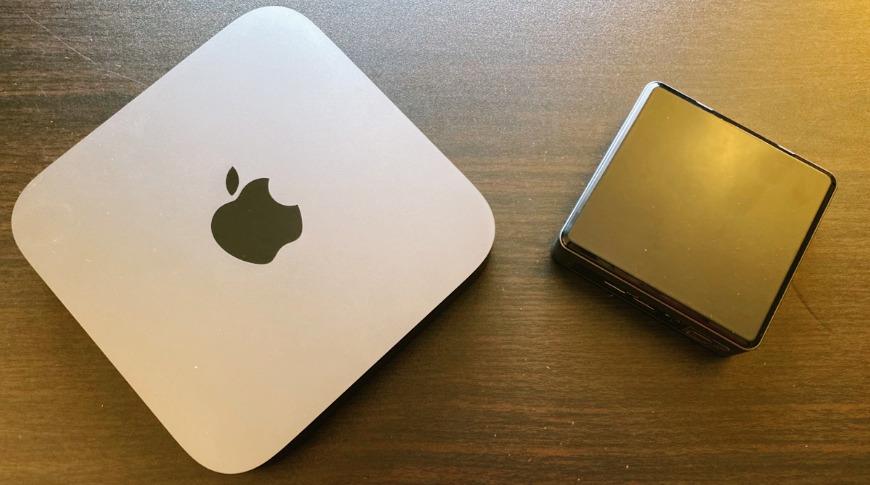 The Mac mini (left) and the Intel NUC