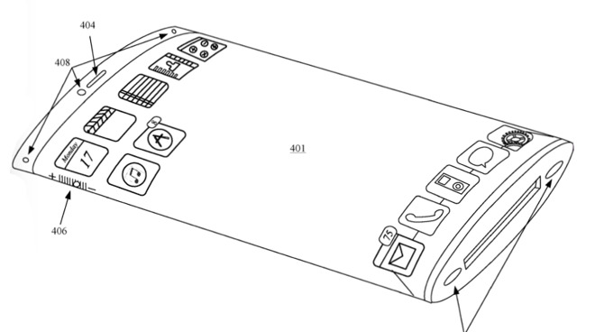 Detail from a drawing in Apple's patent application for a device with a