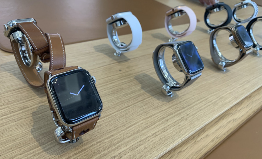 Display Apple Watches in a UK Apple Store. (Photo: William Gallagher)
