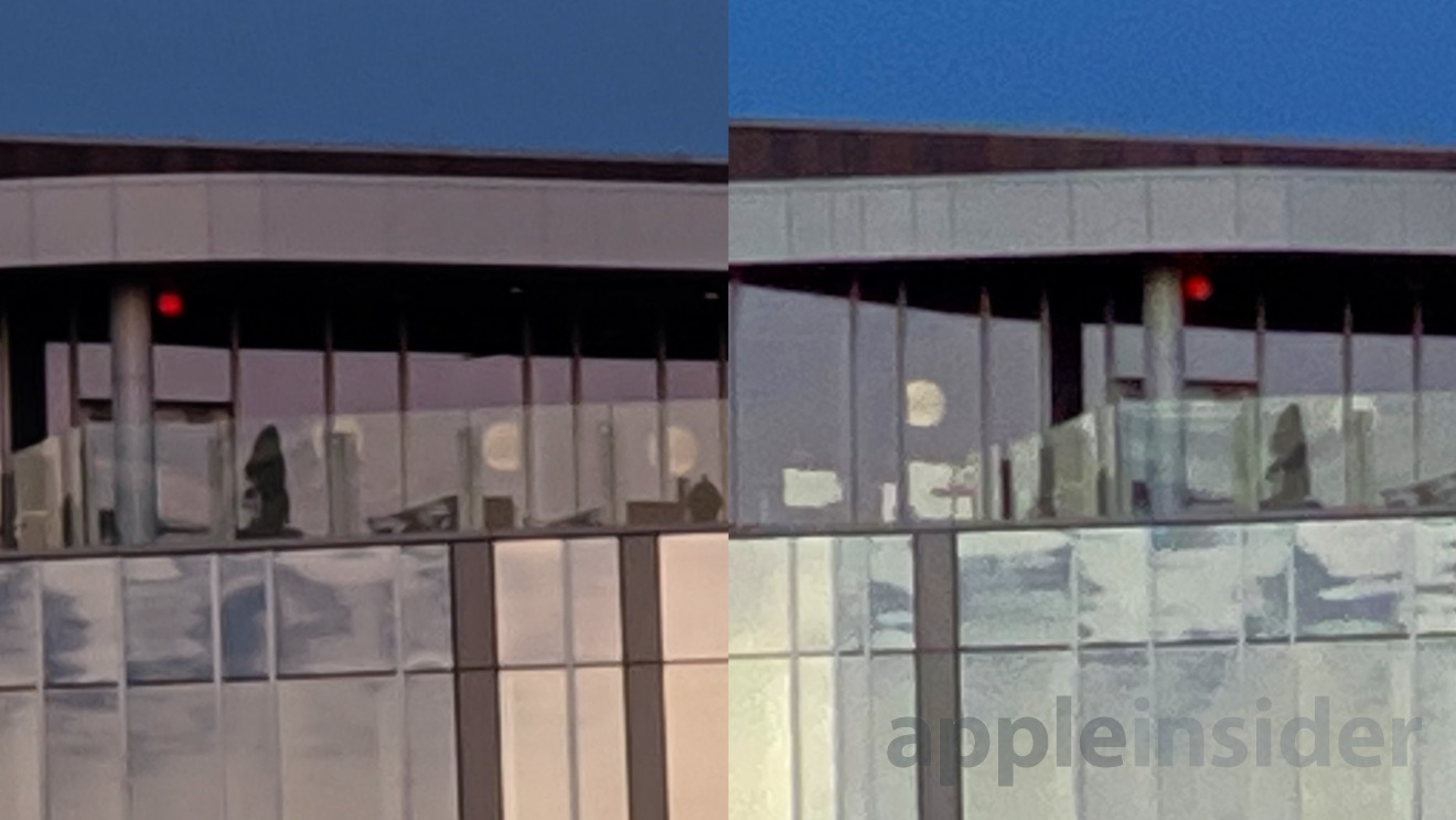 Pixel 4 (left) vs iPhone 11 Pro (right) using tele lens at 8X plus 200% crop