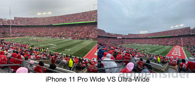 iPhone 11 Pro wide (left) versus ultra-wide (right)
