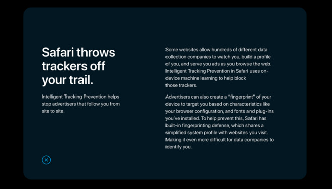 One of Apple's new primers on Privacy, as shown on its redesigned site.