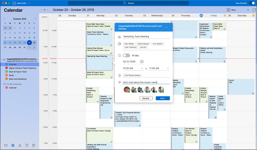The new calendar in Outlook for Mac (image: The Verge)