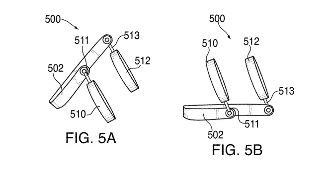 Drawings of how Apple's headphones could be angled to work as speakers