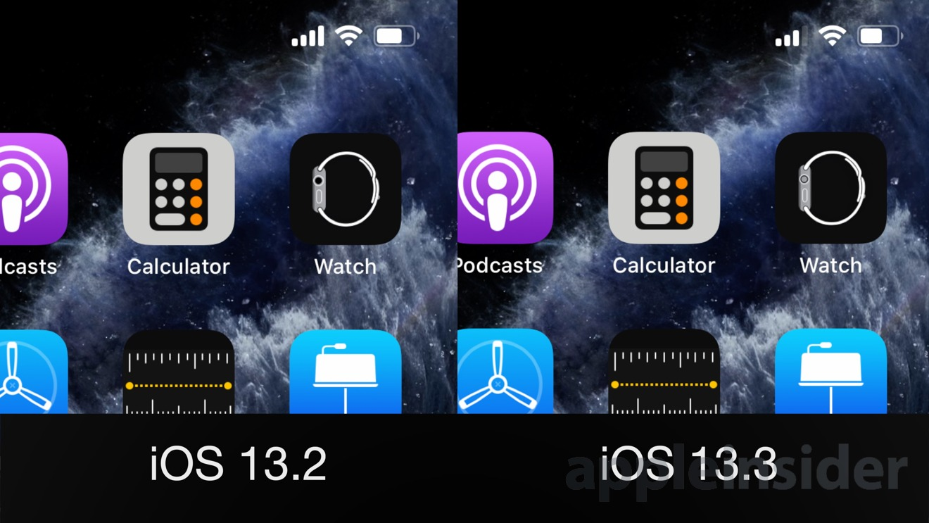Apple Watch app icon in iOS 13.2 versus iOS 13.3