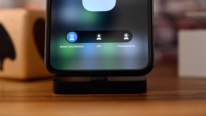 The nosie control toggle within Control Center for AirPods Pro
