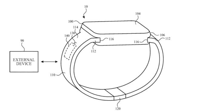 Деталь из патента, показывающая, как ремешок Apple Watch с беспроводной антенной может обмениваться данными с внешними устройствами