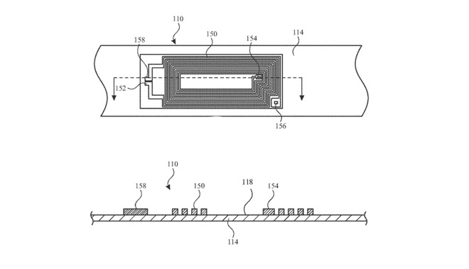 Detail from patent drawings about how circuitry could be embedded within an Apple Watch band
