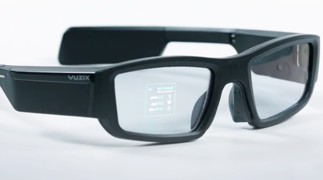 A pair of Vuzix Blade Smart Glasses