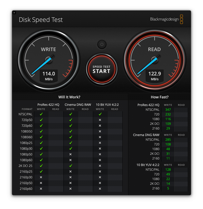 Seagate Backup Plus Portable Blackmagic Disk Speed Test results
