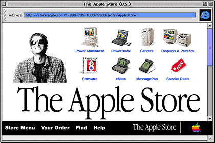 Back in the day, this was considered high resolution. A typical opening screen from the online Apple Store in its earliest days.