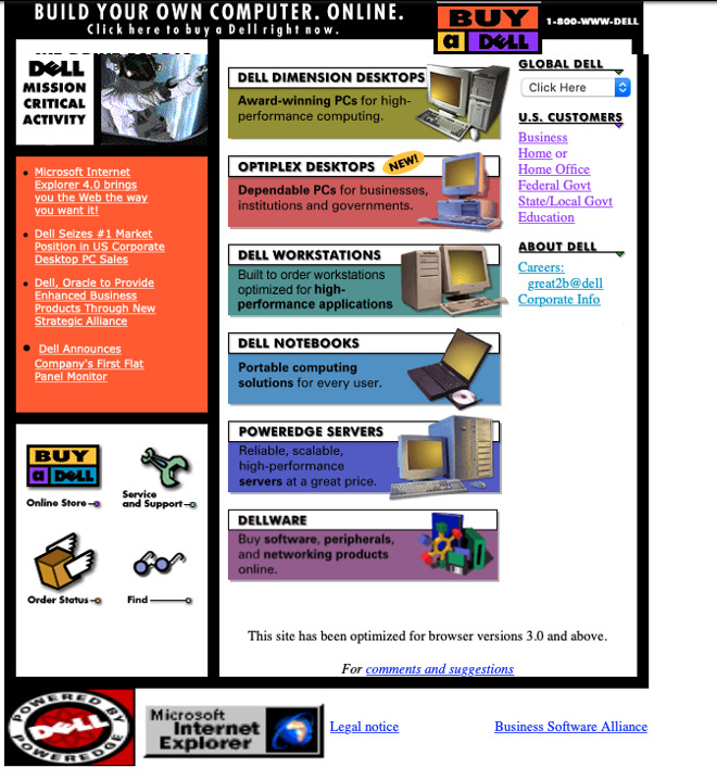 How Dell's hugely successful online store looked around the time Apple launched its own