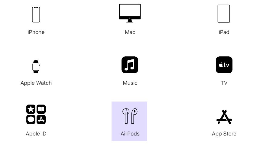 Selecting AirPods to begin support