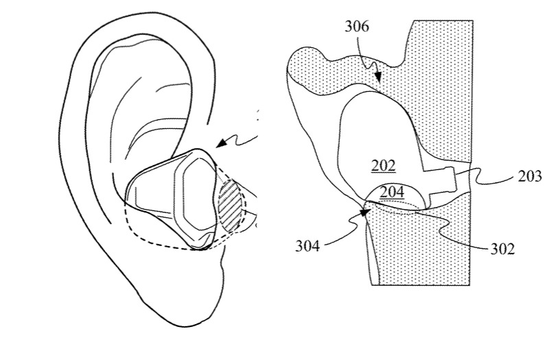 Detail from Apple patent regarding the use of earbuds with biometric sensors