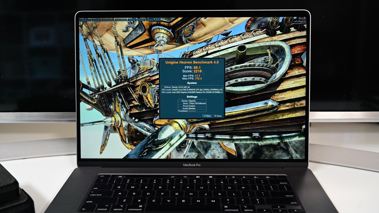 Unigine Heaven benchmark results on the 16-inch MacBook Pro