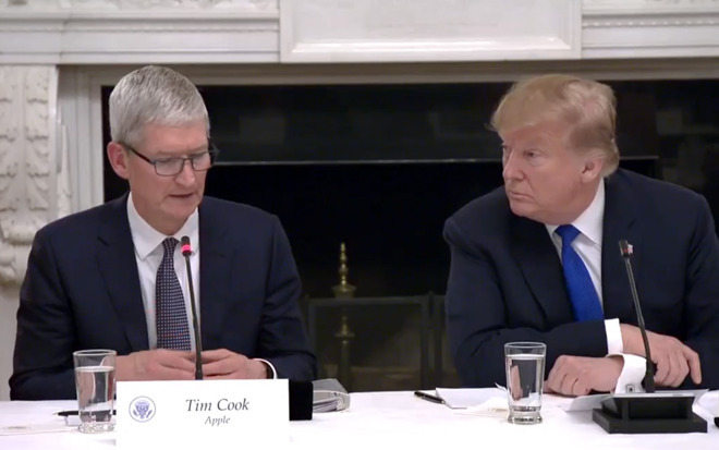 Tim Cook and President Trump meeting