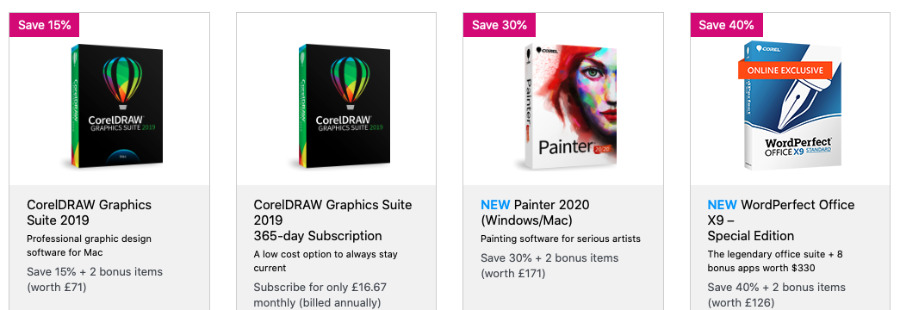 A selection of the Black Friday discounts at Corel