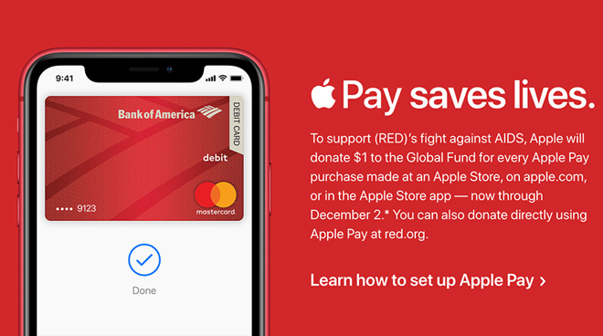 Using Apple Pay at an Apple Store before December 2 will donate $1 to (RED) for World AIDS Day