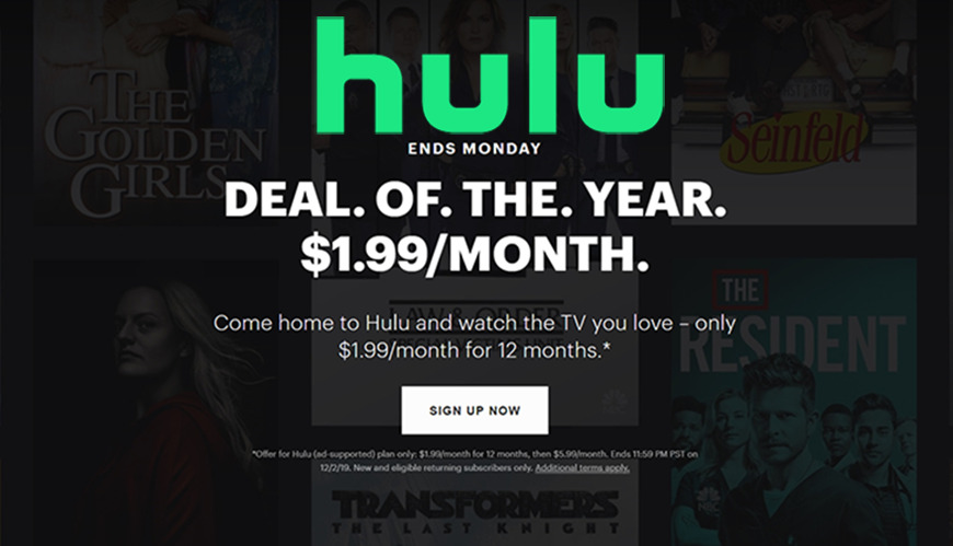 Black Friday 2019 Hulu Drops Tv Streaming Plan To 1 99 Per Month For A Year Appleinsider
