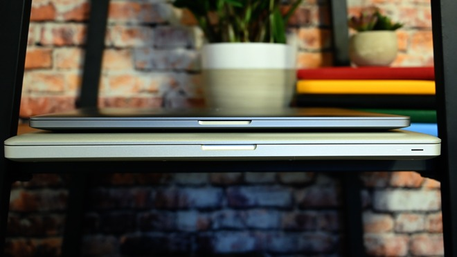 The 16-inch MacBook Pro on top of the 17-inch MacBook Pro