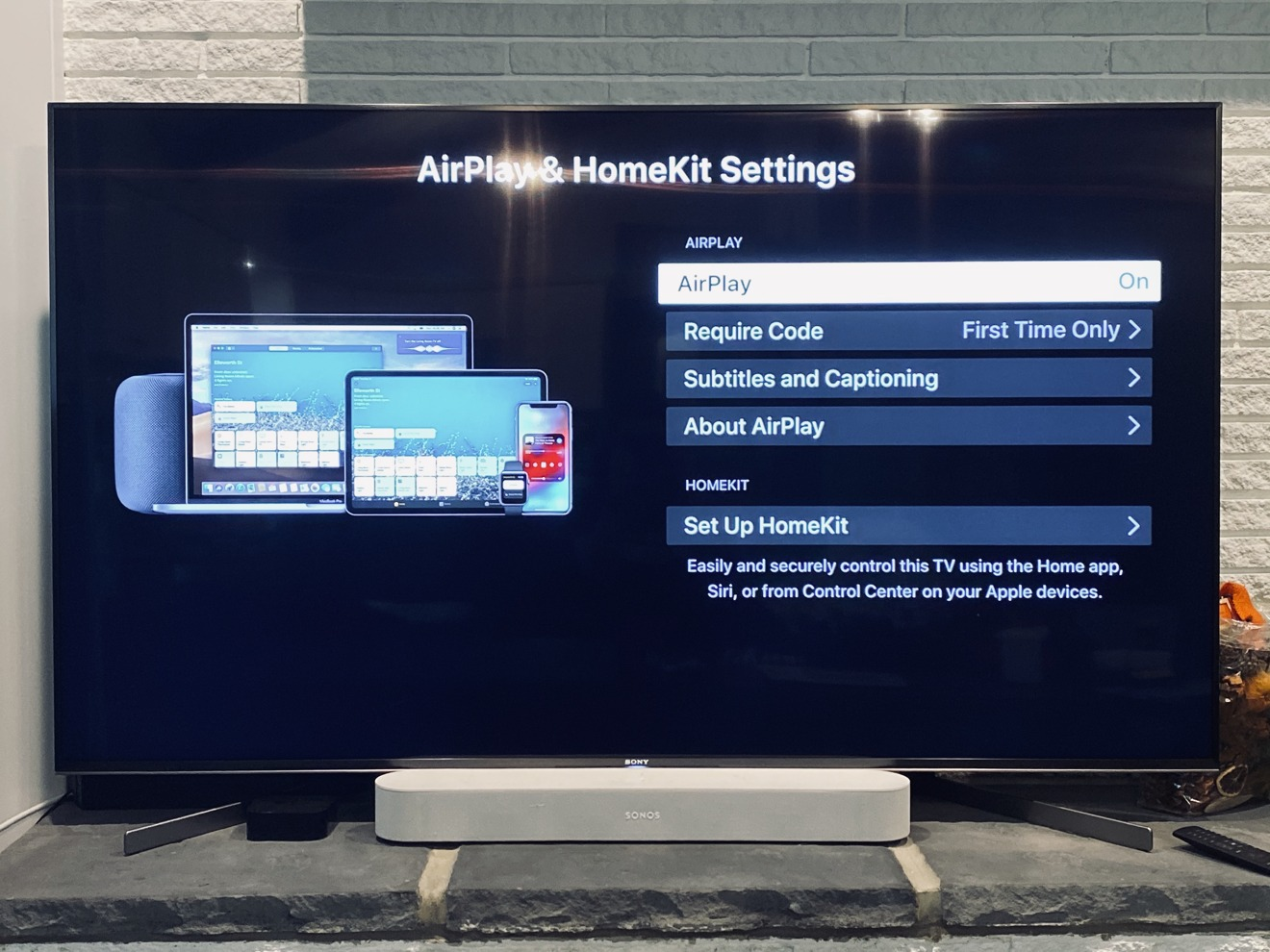 AirPlay and HomeKit Settings on the Sony X950G smart TV