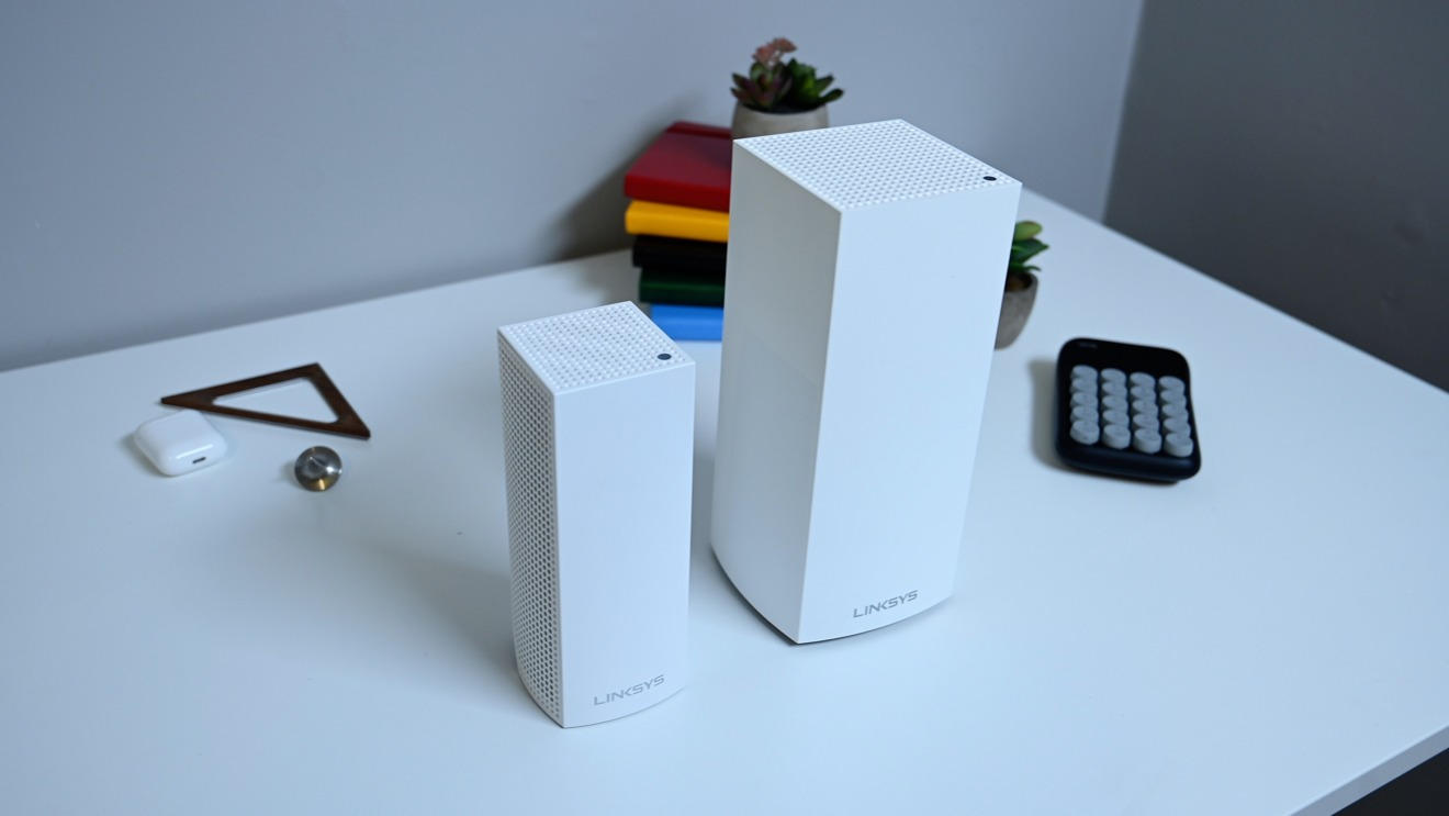 The Velop AC5300 tri-band (left) compared to the new Velop AX5300 Wi-Fi 6 router (right)