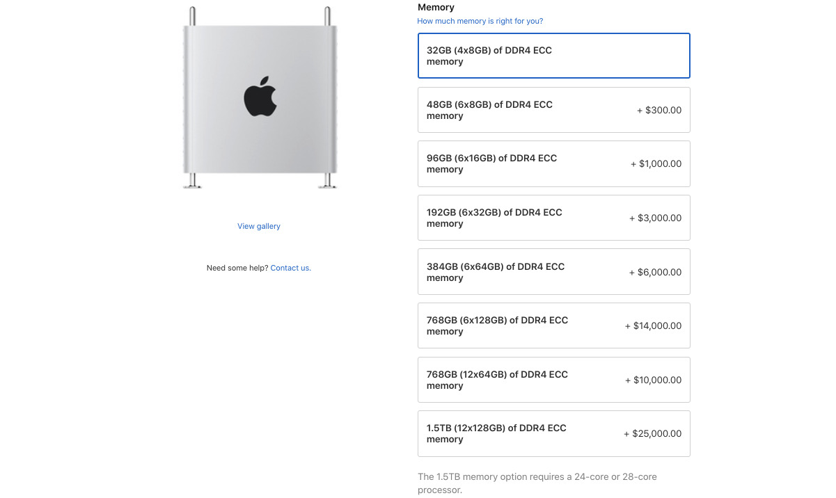 The list of available memory upgrade options within the Mac Pro sales page