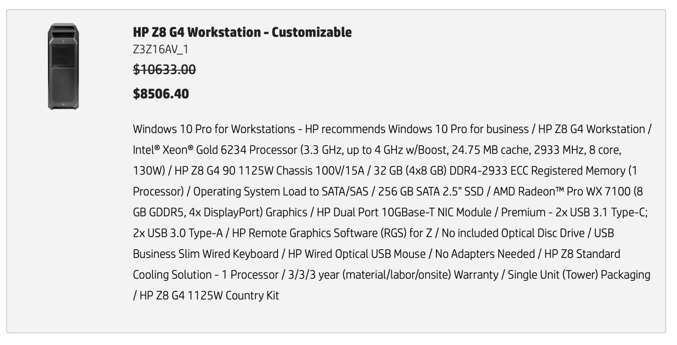 Comparing a similarly configured HP workstation to the entry-level Mac Pro