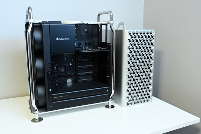 The Mac Pro with the case removed