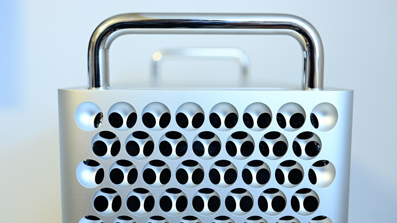 The front handle of the Mac Pro