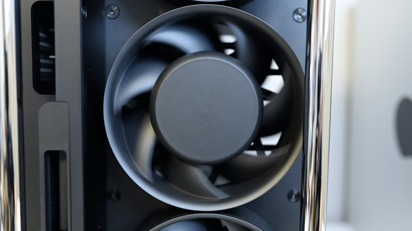 One of several massive cooling fans on the Mac Pro that remain quite quiet