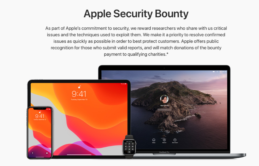 Detail from Apple's new Apple Security Bounty page