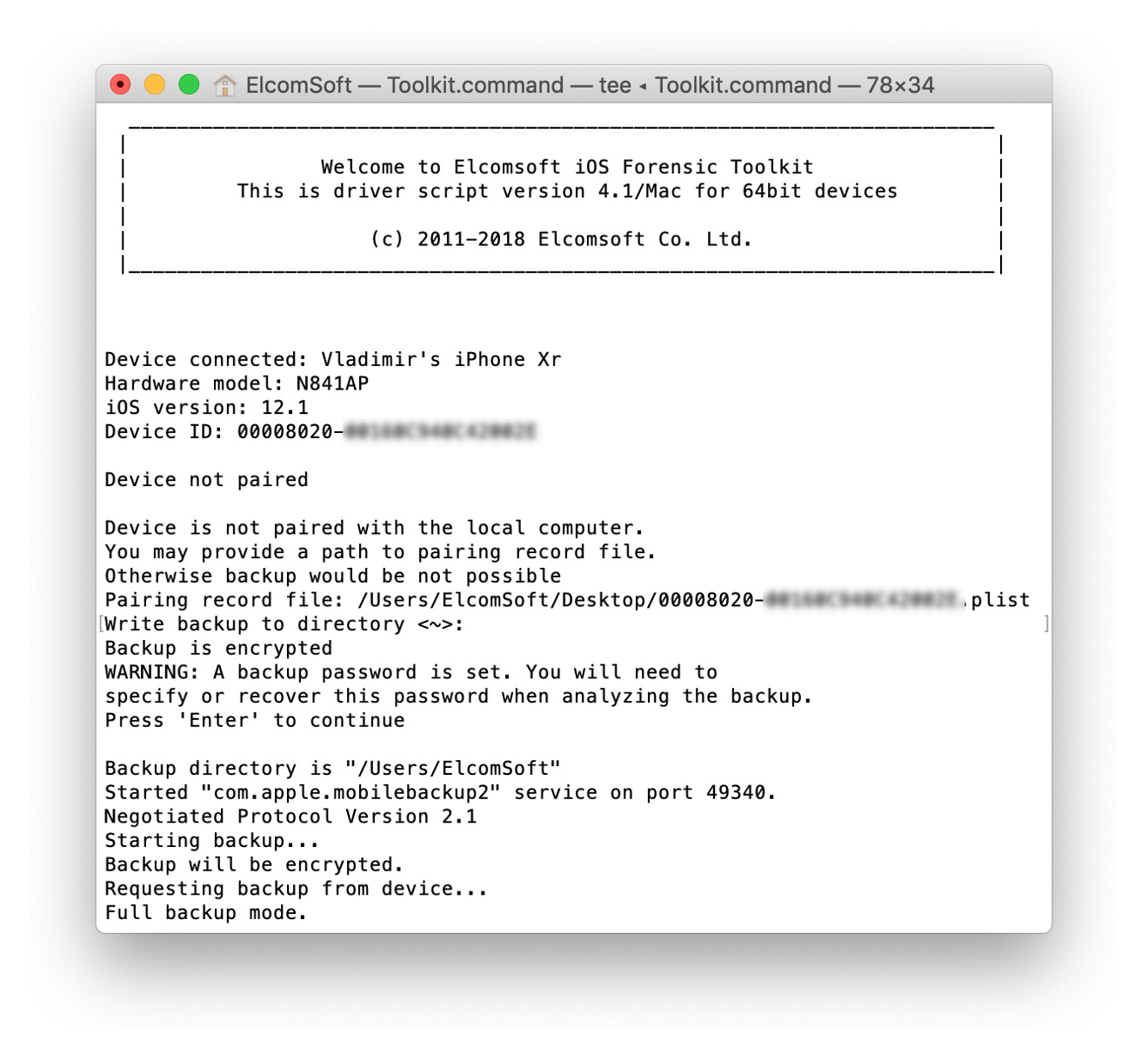 Elcomsoft's iOS Forensic Toolkit interface