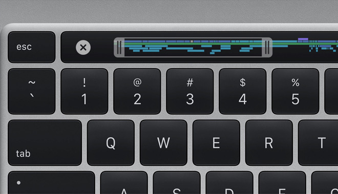 Detail from the new keyboard on the 16-inch MacBook Pro